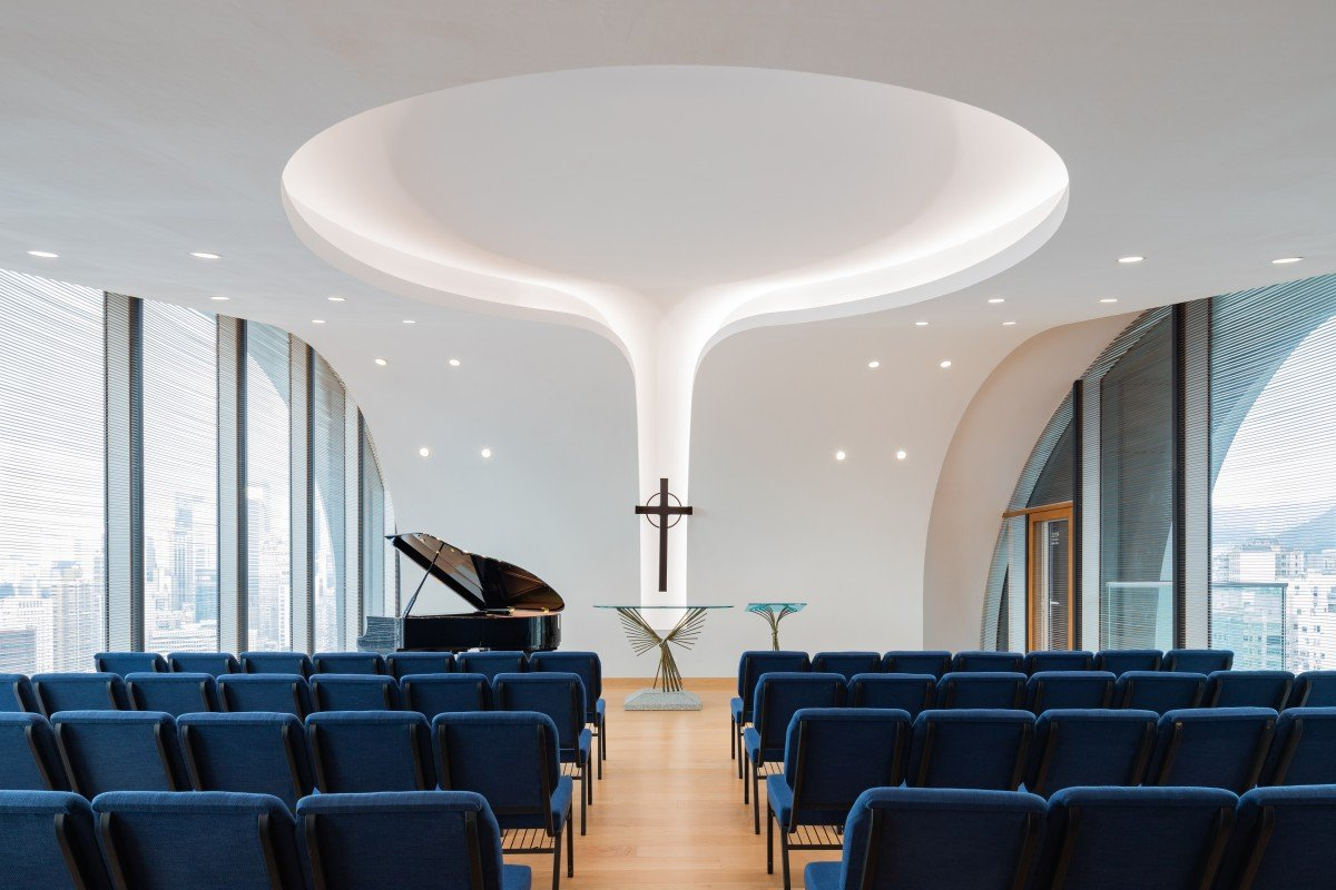 The Sky Chapel 22 floors up in Wesleyan House Methodist Church, Wan Chai, Hong Kong, designed by local architect Rocco Yim, makes maximum use of natural light and offers panoramic views of Hong Kong.