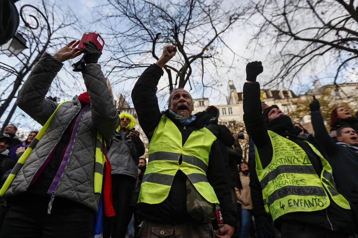 France's yellow vests stage peaceful new protests for anniversary of movement calling for economic justice