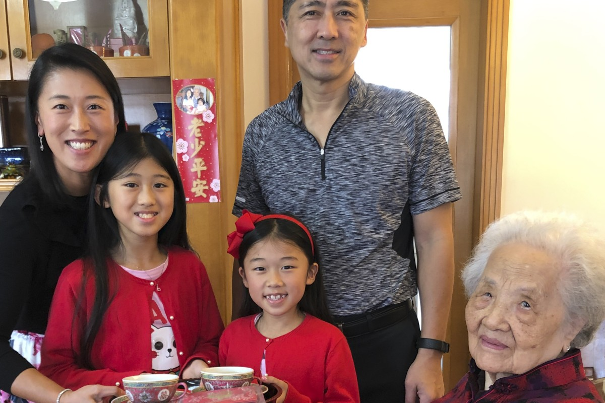 Cheng Li Shuk Kam, 99, with granddaughter Therese Tee, great granddaughters Brianna and Alanna, and grandson-in-law David Tee. Photo: courtesy Cheng family