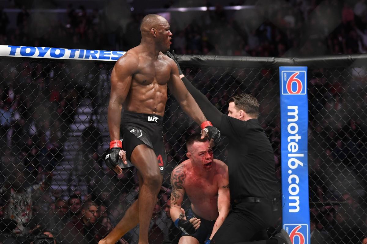 Image result for Kamaru Usman knocks out colby