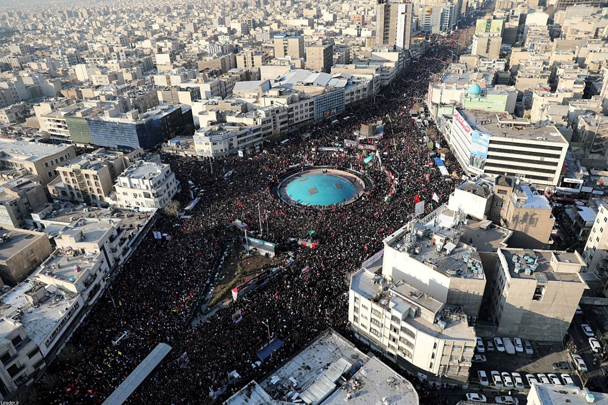 Thousands attend a funeral procession in Tehran on January 6 for Iranian general Qassem Soleimani, who was killed in an American drone strike. Photo: Reuters