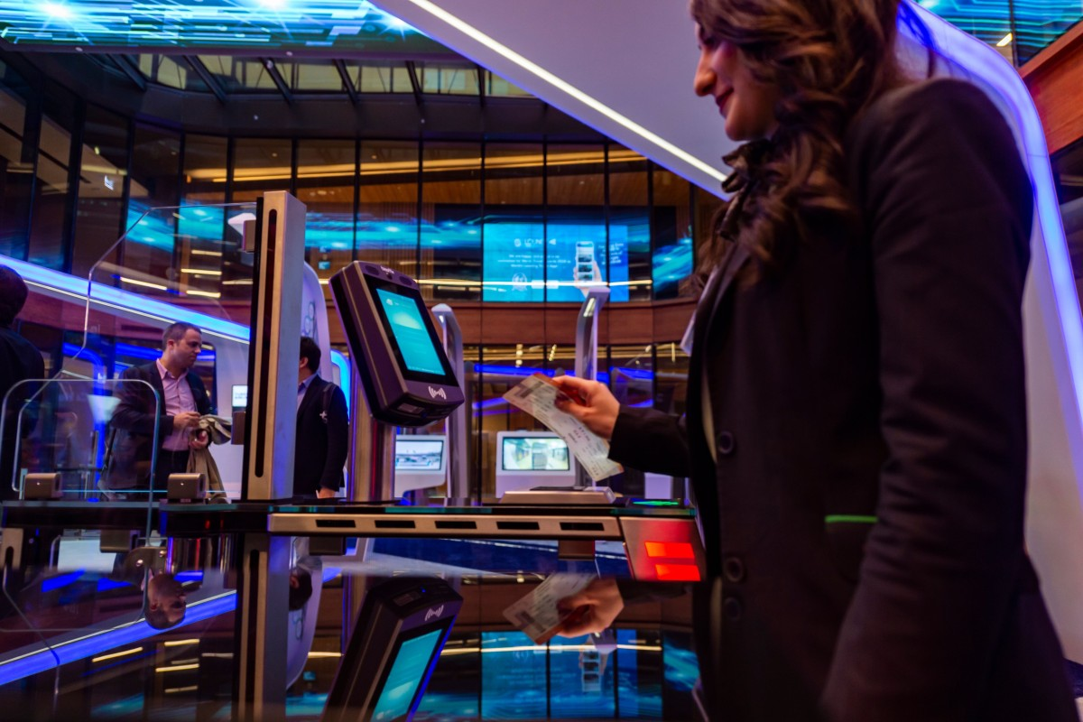 An attendant doing a facial recognition test using biometric technology at Istanbul Airport, which is also one of only a few airports currently to have its own 5G indoor network. Photo: AFP via Getty Images