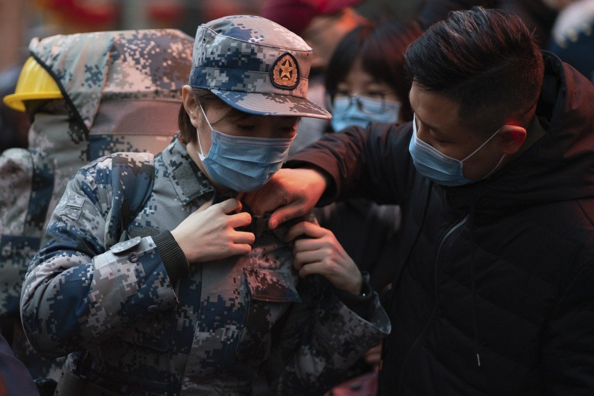 The Chinese military is sending 1,400 medical staff, some with experience from the previous Sars and Ebola outbreaks, to treat coronavirus patients in Wuhan. Photo: AP