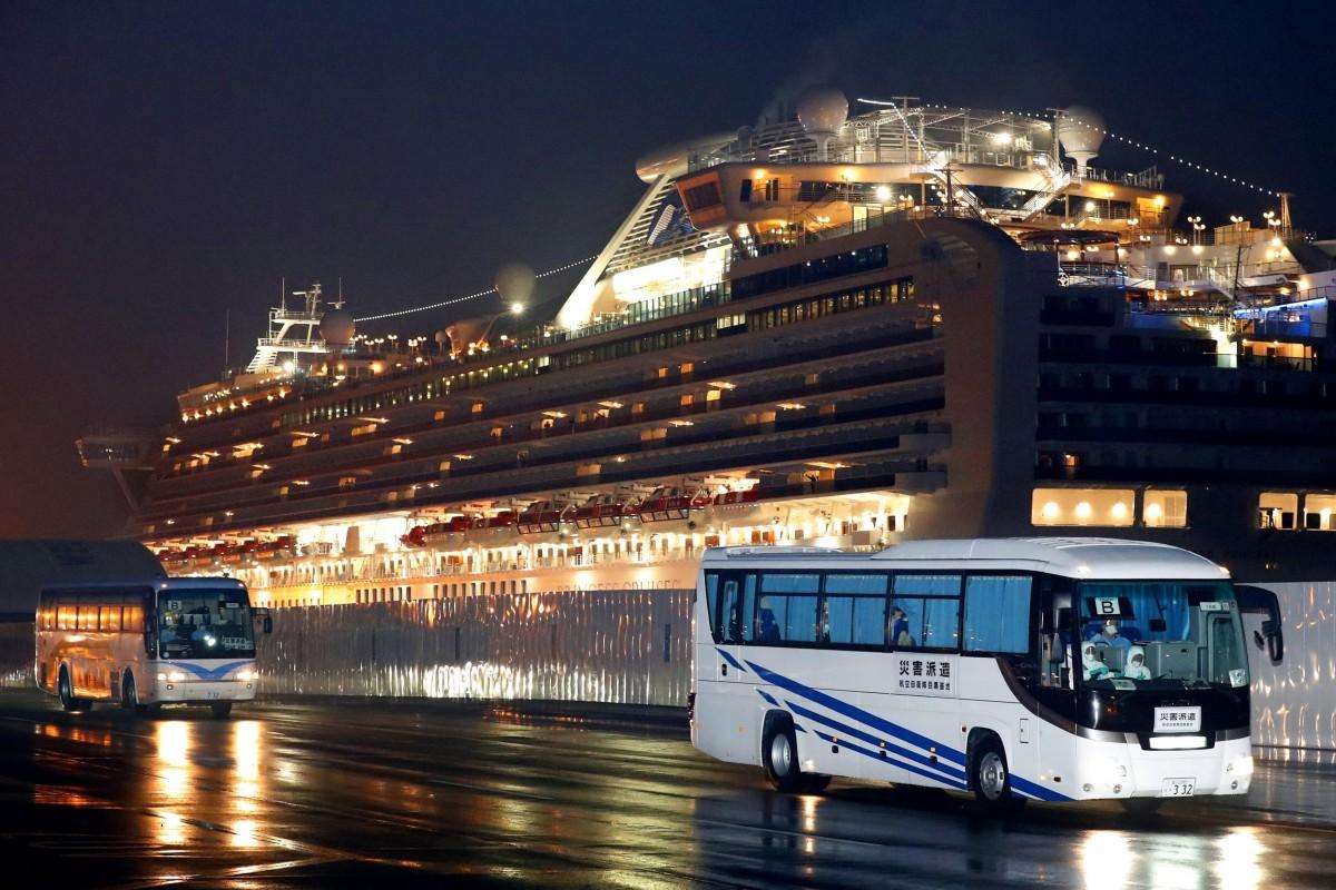 Buses carrying US passengers leave Yokohama port on Monday, February 17, 2020. Photo: Kyodo News via AP