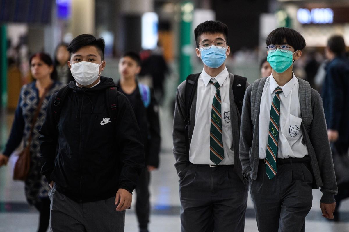 Students at Hong Kong's international airport last month. Photo: AFP