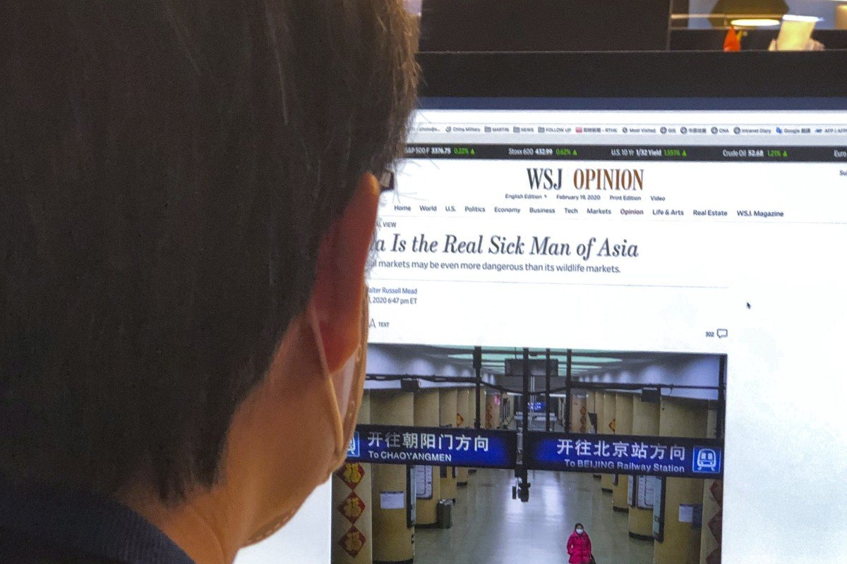 """The Wall Street Journal story with the headline """"China Is the Real Sick Man of Asia"""". Photo: SCMP"""