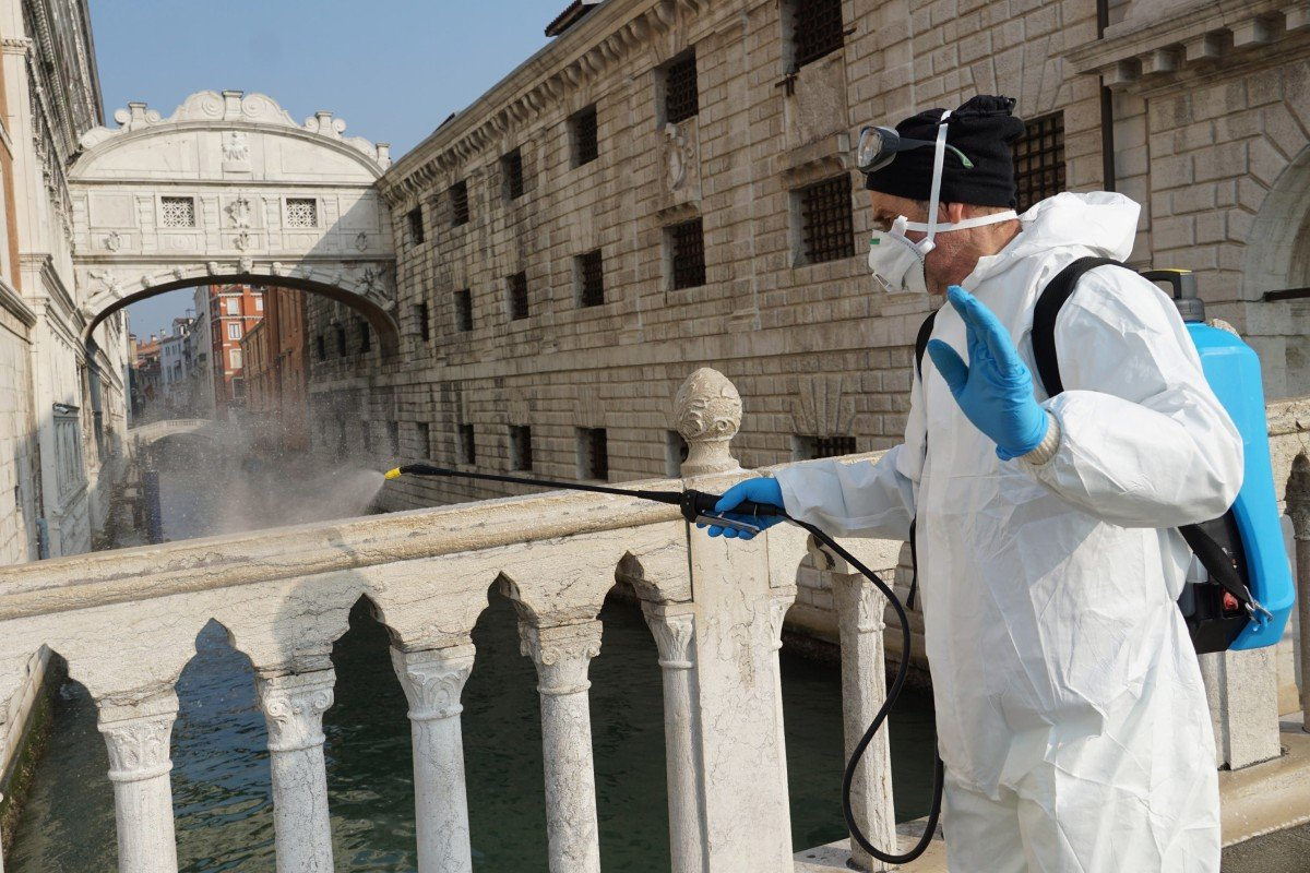 Anti coronavirus measures in the historic Marciana area of Venice as all of Italy is completely locked down and scientists look for patterns in areas of high infection. Photo: EPA-EFE