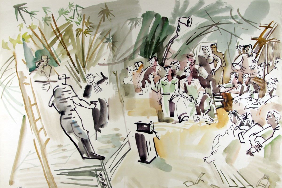 A dance troop performs in the middle of the Vietnamese jungle in war artist Bui Quang Anh's 1971 painting. Image: Witness Collection / Bui Quang Anh