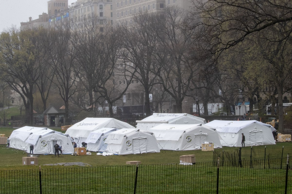 Coronavirus: tent hospital erected in Central Park as New York ...