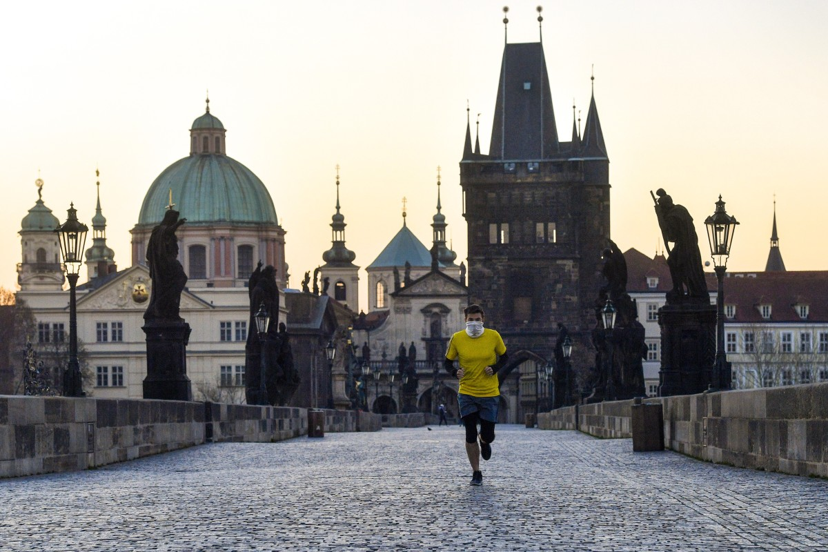 """Prague, the Czech Republic's capital, is near-deserted because of the coronavirus outbreak, which has caused the delay of the """"17+1"""" summit. Photo: DPA"""