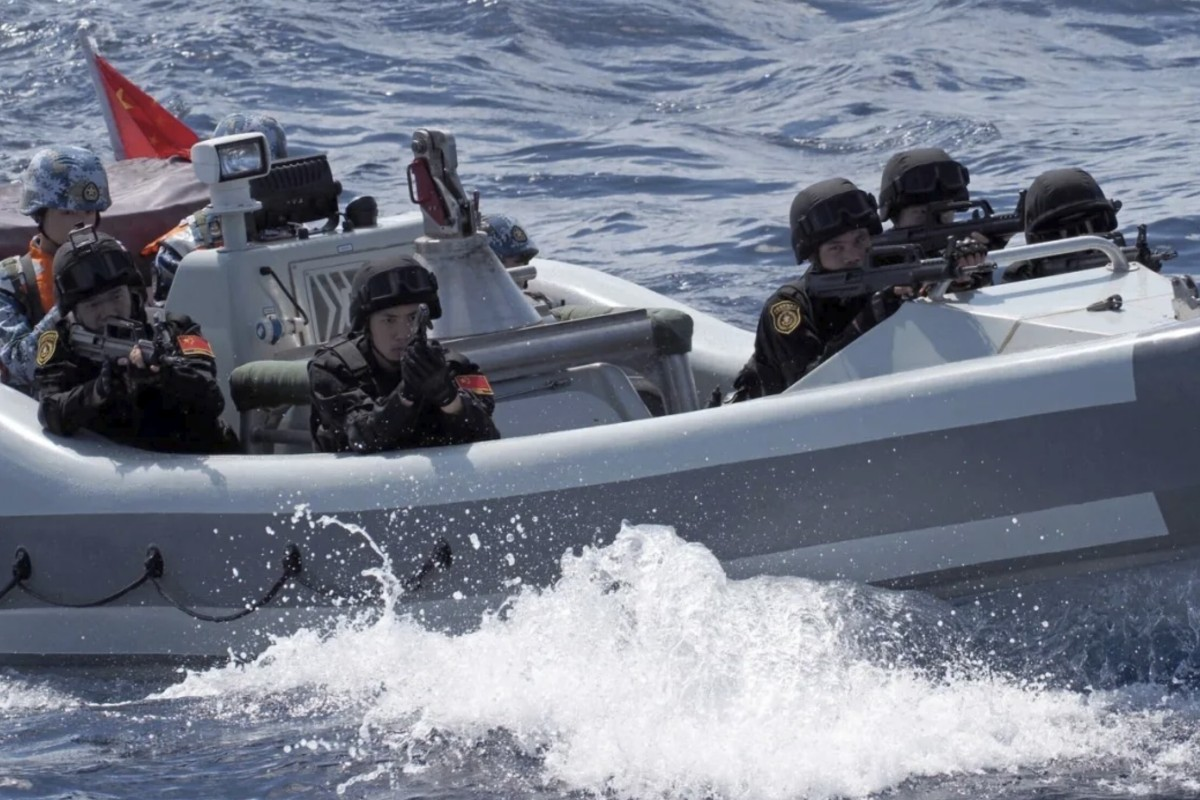 The Chinese navy carries out a drill in the Spratly Islands chain after completing an anti-piracy operation in the Gulf of Aden. Photo: PLA Daily