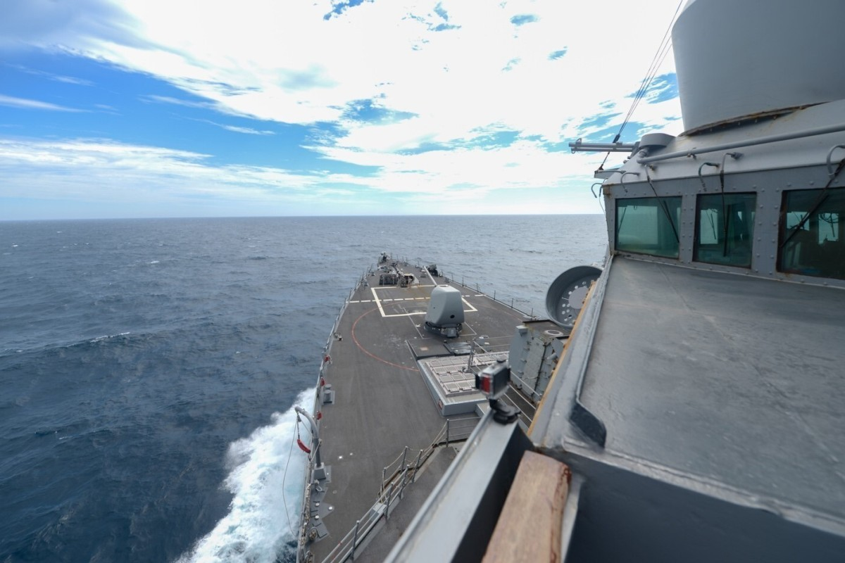 The Arleigh Burke-class guided-missile destroyer USS Russell transits the Taiwan Strait on Thursday. Photo: Facebook