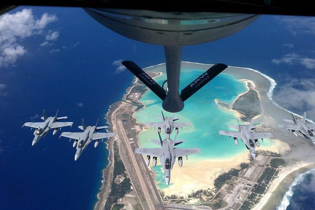 US Air Force Hornets refuel over Wake Island. Photo: Handout