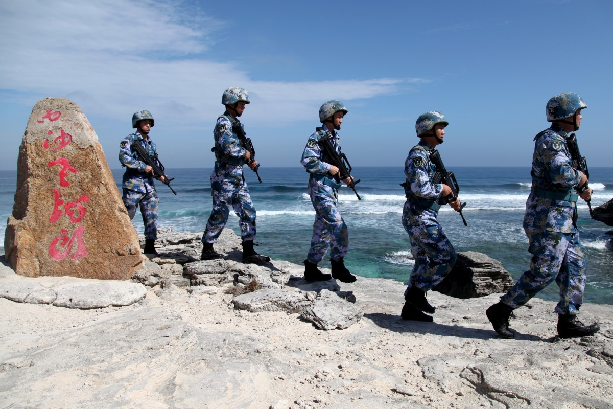 A Chinese navy patrol on Woody Island in the South China Sea. Photo: Reuters