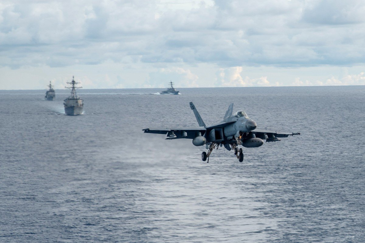 The US Navy holds a drill in the South China Sea on July 6. Washington has rejected China's claims in the disputed waters. Photo: EPA-EFE