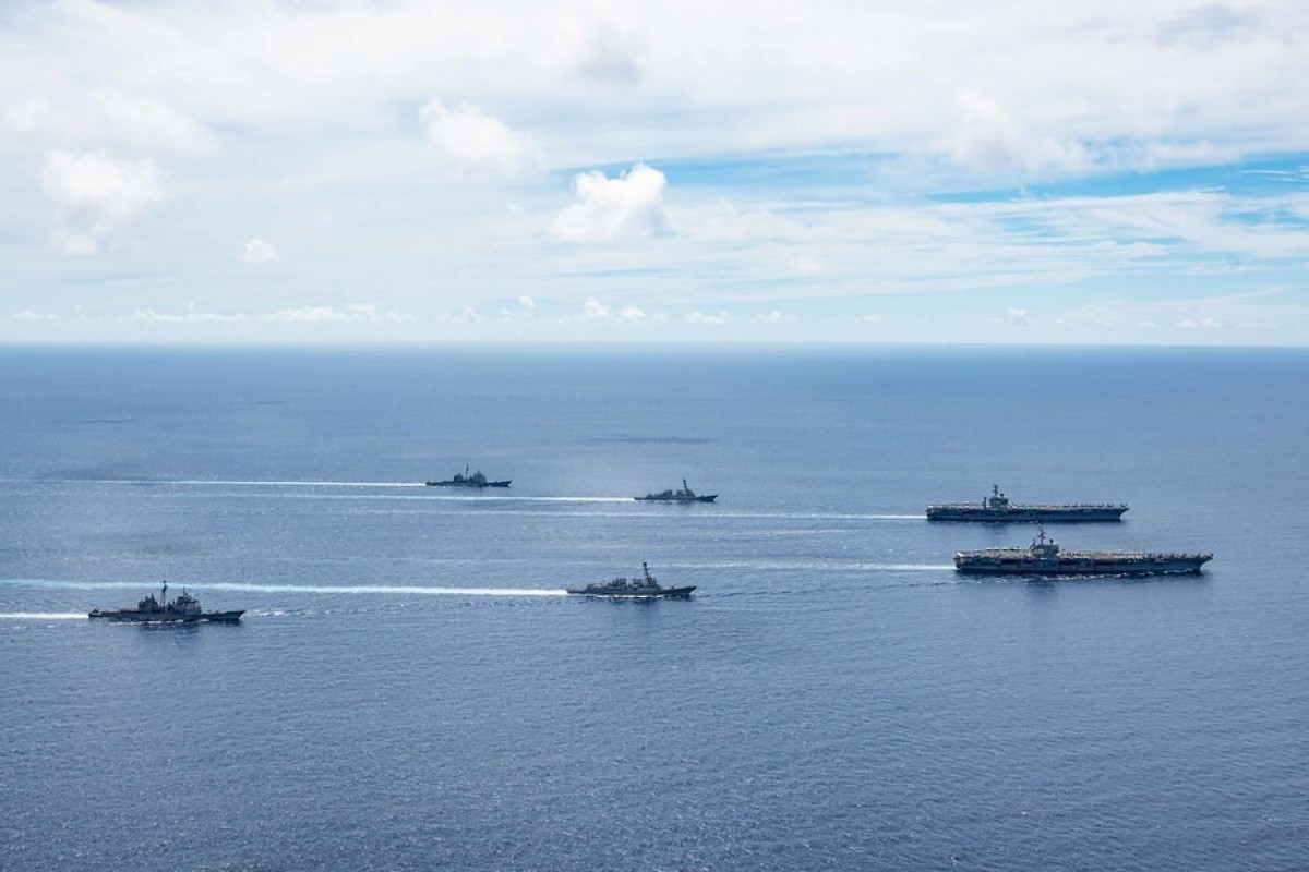 The US Navy said two of its aircraft carrier strike groups carried out dual exercises in the South China Sea to boost their combat readiness. Photo: US Navy