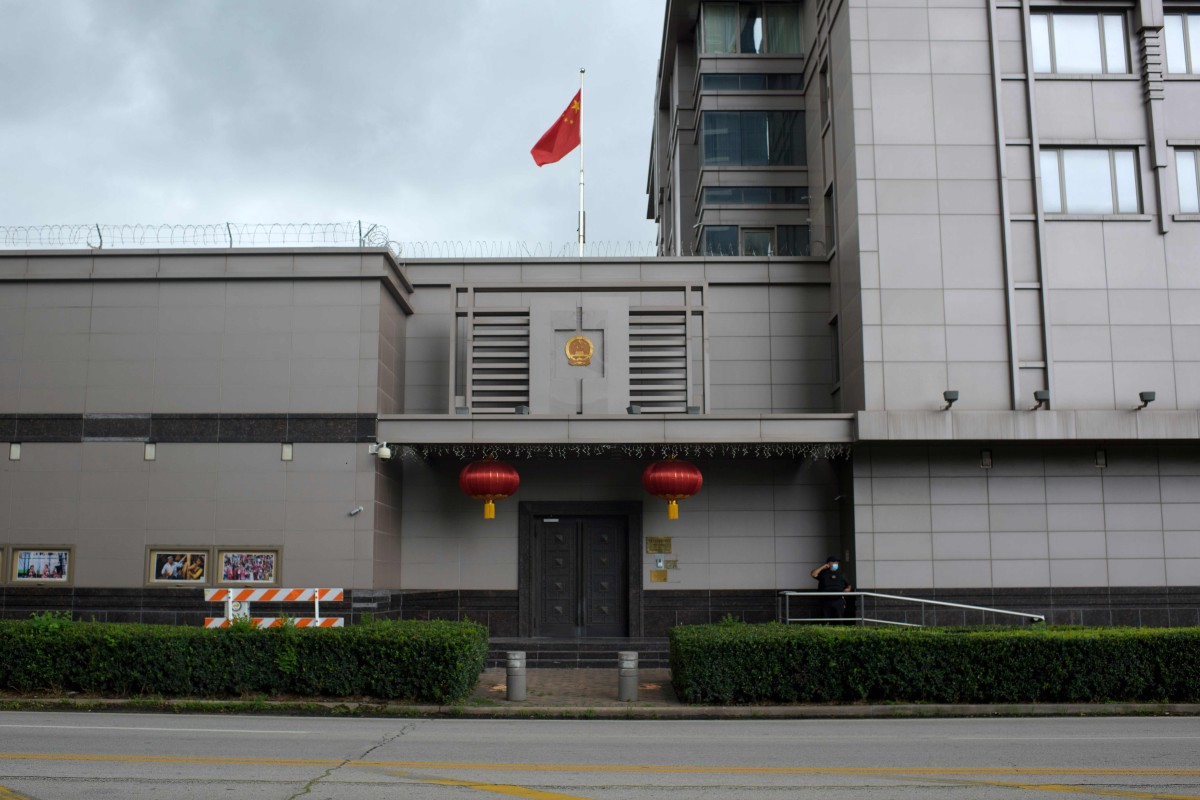 The Chinese flag flies outside the Chinese consulate in Houston after the US State Department ordered China to close the consulate. Photo: AFP