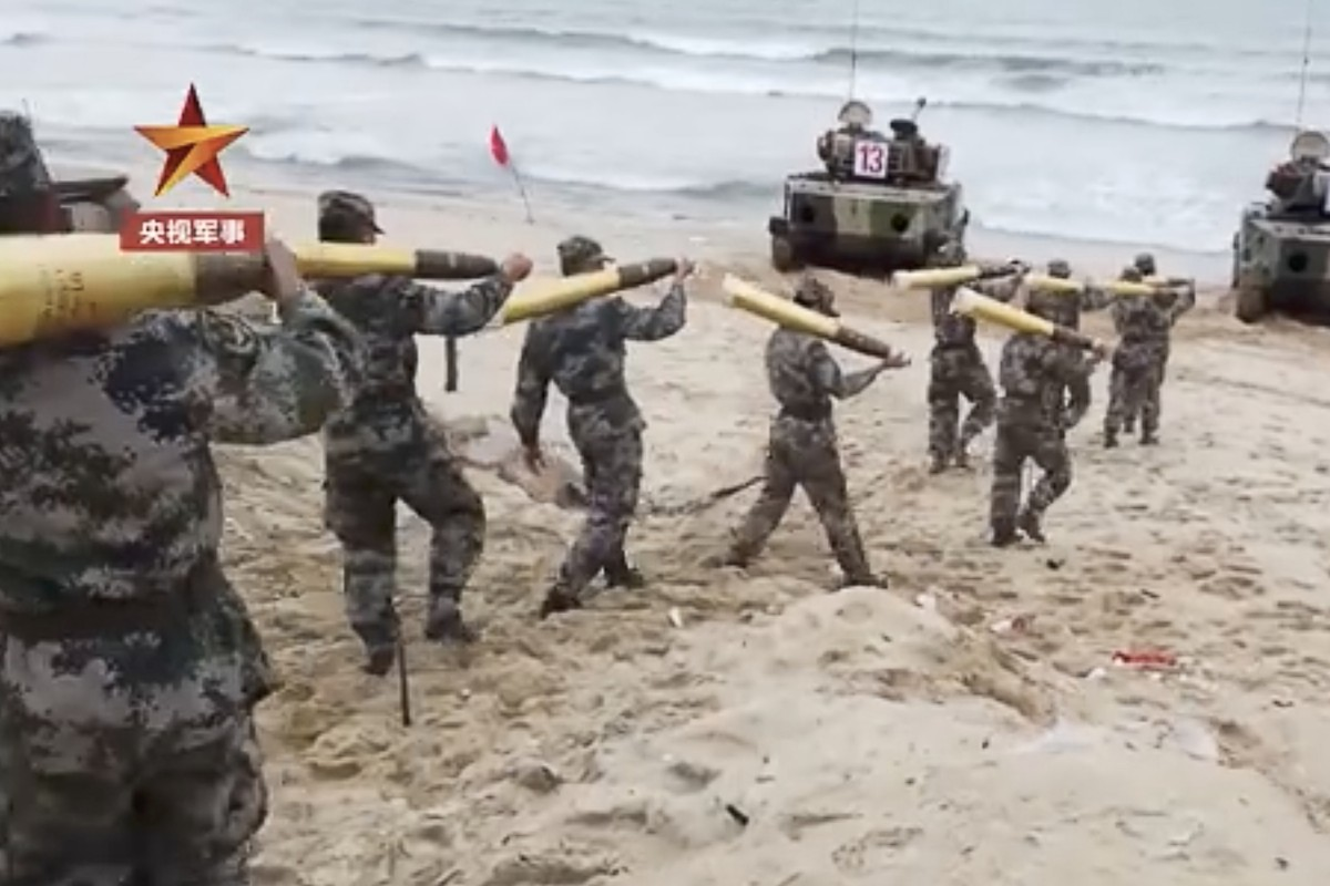 Footage from a PLA landing drill in June. The Chinese military is reportedly planning another large-scale simulated invasion exercise this month. Photo: Handout