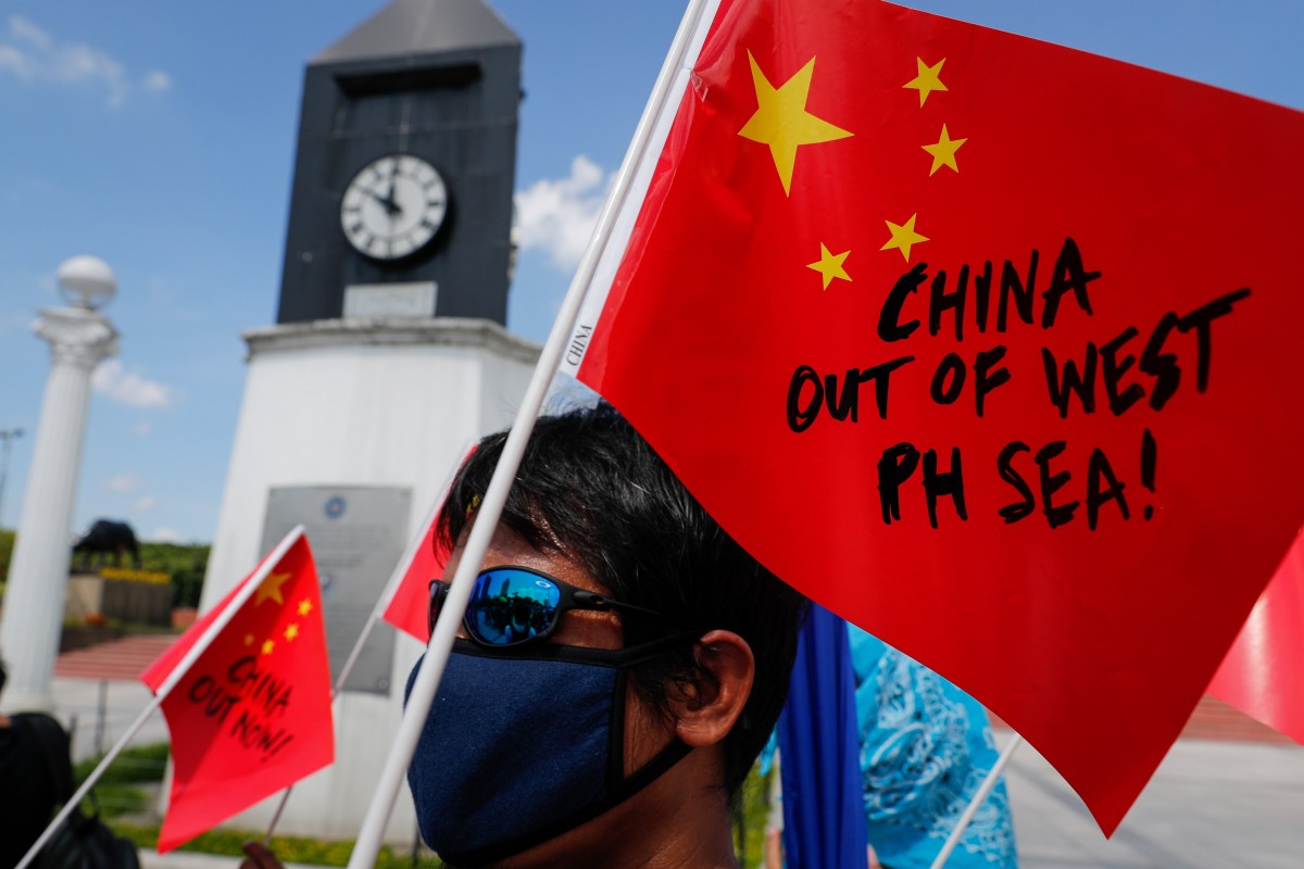 A protest in Manila against China's actions in the South China Sea. Photo: EPA