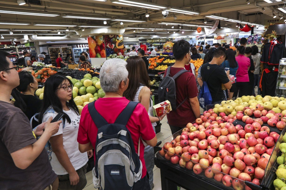 Hong Kong's leader Carrie Lam has said she will demand that supermarkets offer customer discounts as a condition for receiving financial aide from the government. Photo: Felix Wong