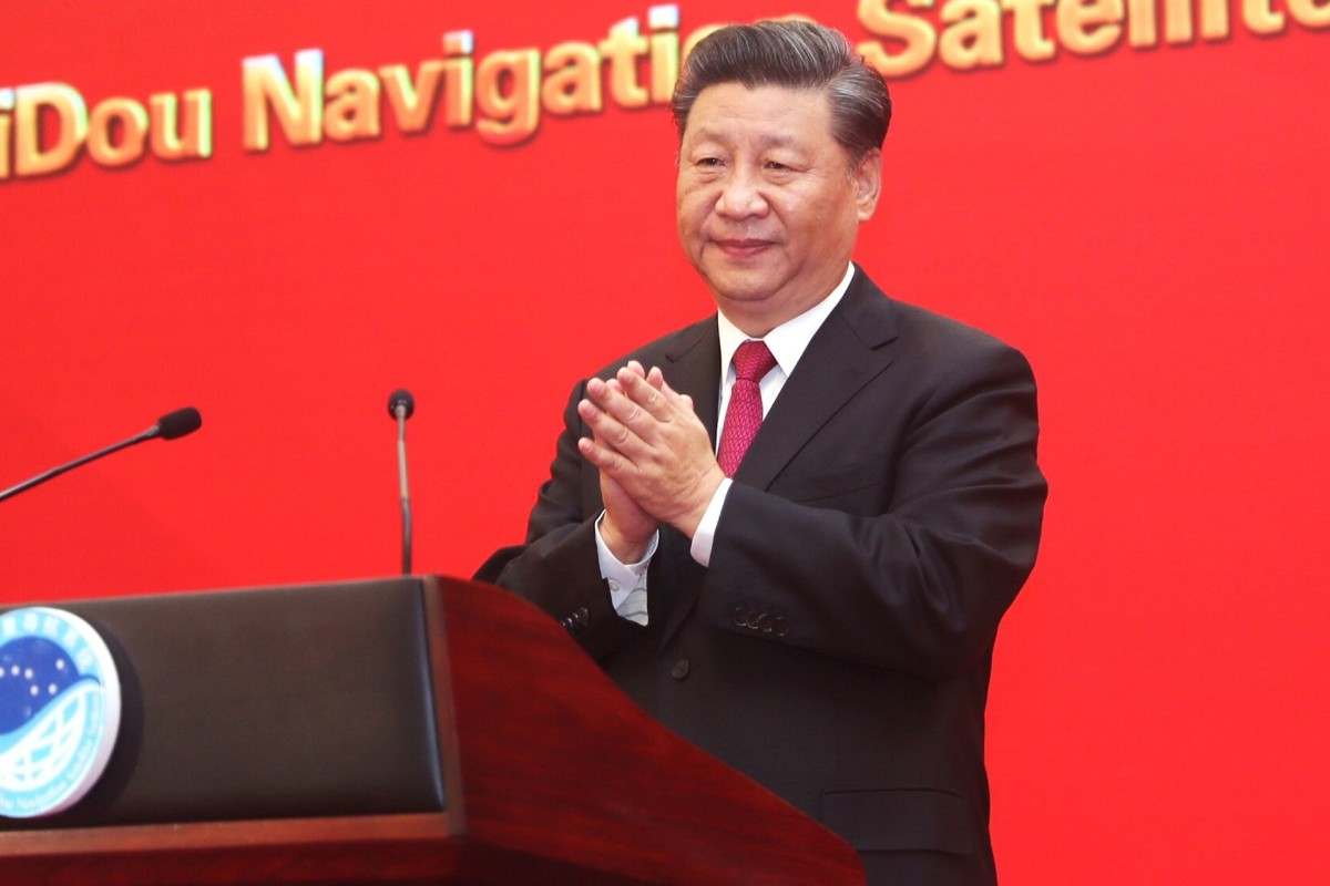 A bill introduced in the US Congress would ban US government documents from referring to Xi Jinping, shown at a ceremony last month in Beijing for the BeiDou navigational satellite system, as China's president. Photo: Xinhua