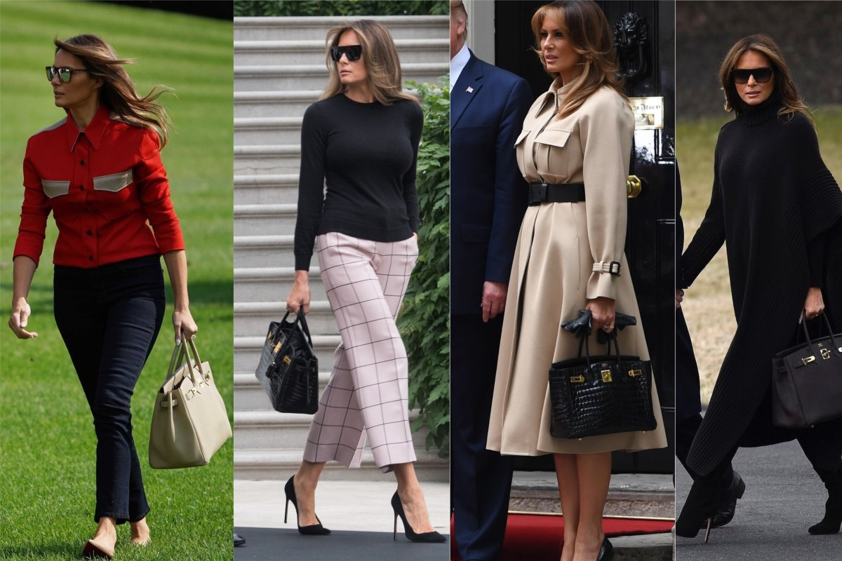 This bag lady is not short of a dime – Melania Trump's Hermès Birkin collection is conservatively estimated to be worth US$100,000. Photos: Getty Images/@melaniatrumpfashion/Instagram