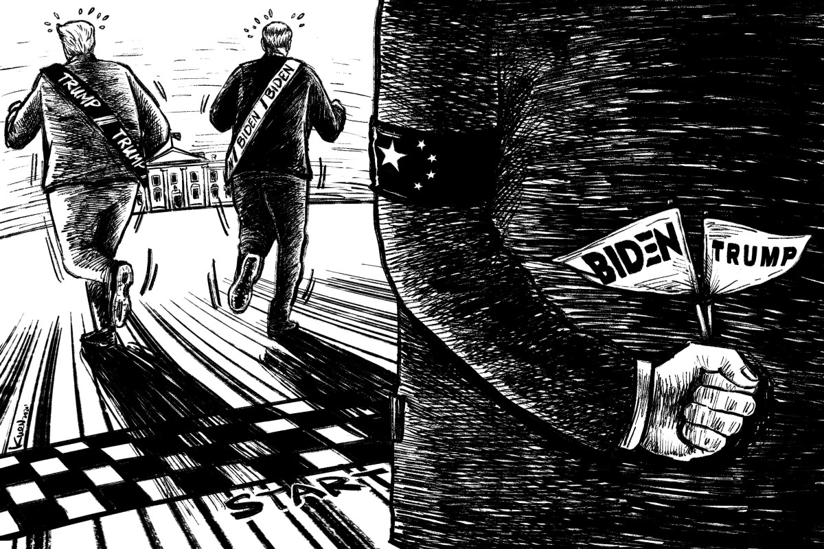 There are high stakes in the election for China, which both Donald Trump and Joe Biden have branded a central threat to US interests. Illustration: Lau Ka-kuen
