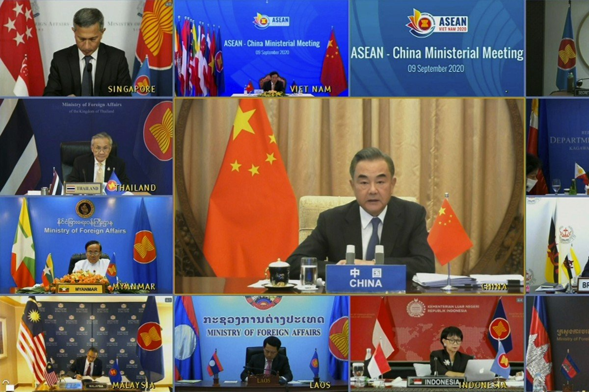 Wang Yi (centre) made the appeal to his fellow Asean foreign ministers during an online meeting on Wednesday. Photo: AP