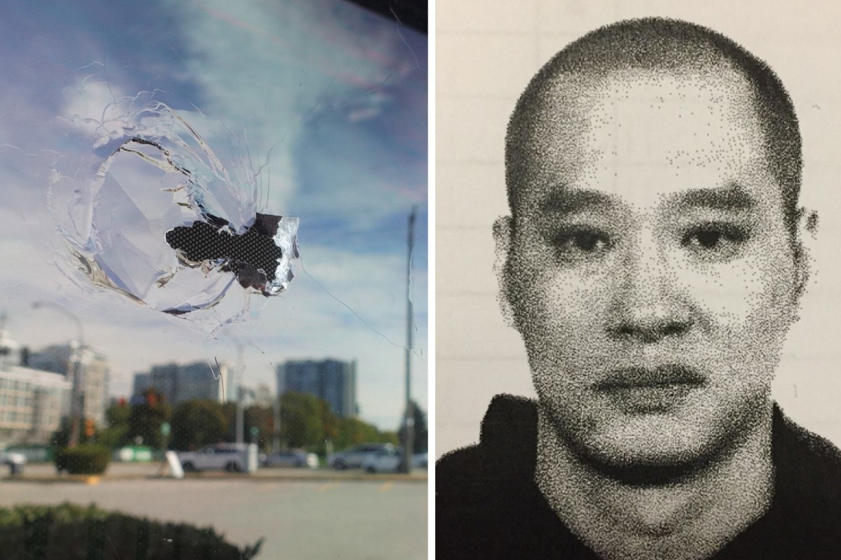 A bullet hole is seen in the window of Manzo Itamae Japanese restaurant in Richmond, BC, where accused money launderer Jian Jun Zhu was shot dead last week. Photos: Ian Young and The Vancouver Sun