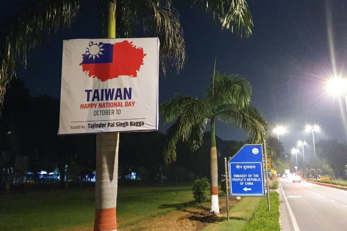 A local politician plastered posters of the Taiwanese flag outside the Chinese embassy in New Delhi. Photo: Twitter