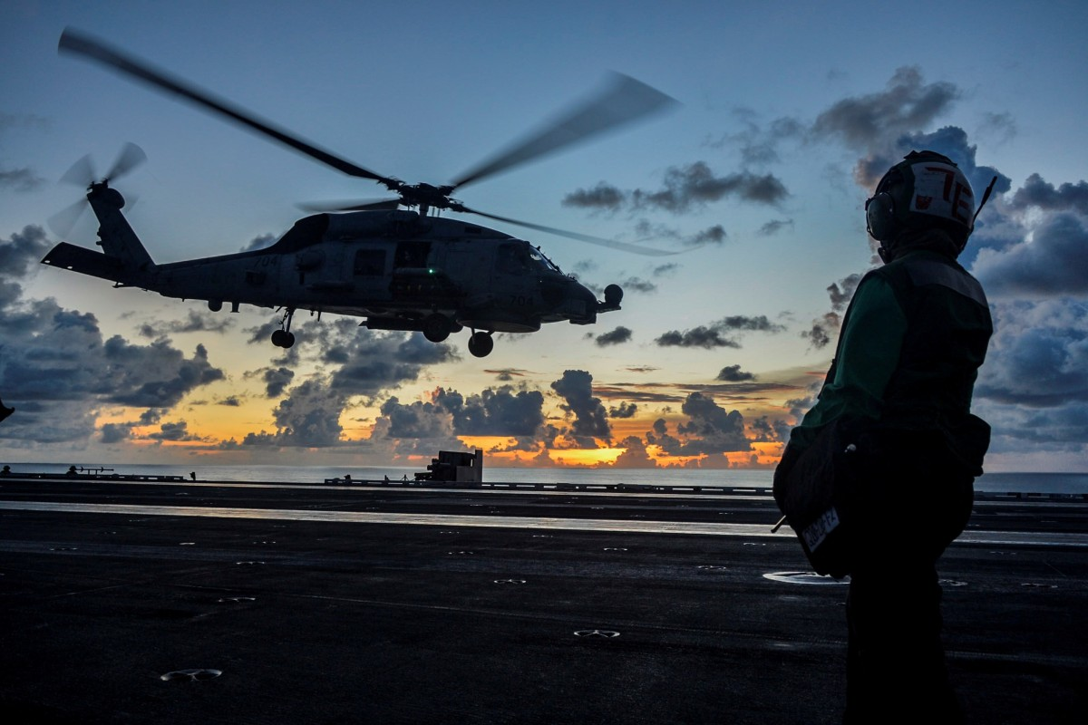 A Sea Hawk helicopter lifts off from the American aircraft carrier USS Ronald Reagan during an exercise in the South China Sea in July. Photo: Reuters