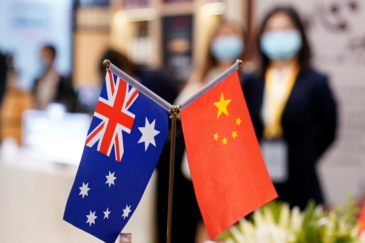 Australian and Chinese flags at the third China International Import Expo in Shanghai, China, this month. Photo: Reuters