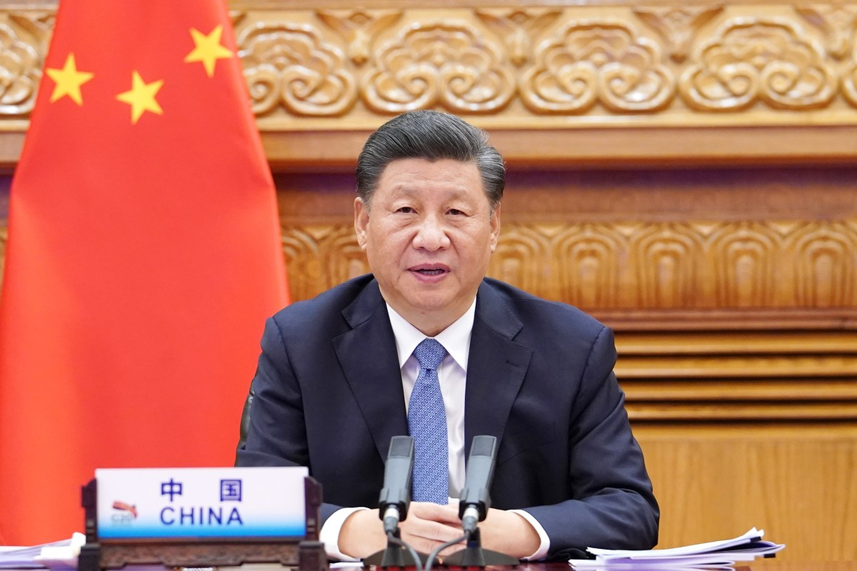 Chinese President Xi Jinping attends the G20 summit via video link in Beijing on Saturday. Photo: Xinhua