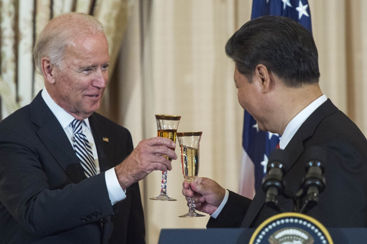 Joe Biden, when he was US vice-president, and Chinese leader Xi Jinping raise a toast in Washington in 2015. Xi has congratulated Biden on his election victory. Photo: AFP