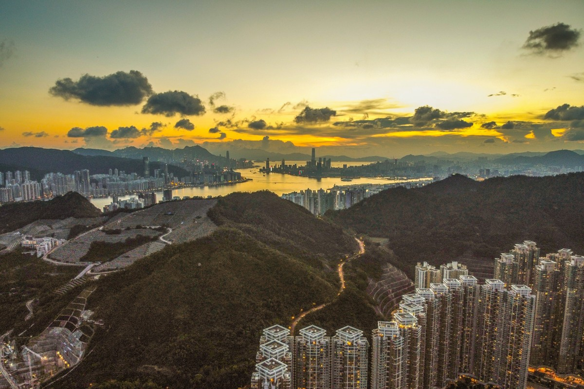 Hong Kong's skyline with residential buildings is seen at sunset in Tseung Kwan O in August 2020. Photo: Sun Yeung