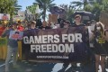 Gamers For Freedom, which is part of Fight for the Future, organized a protest outside BlizzCon. (Picture: Fight for the Future)