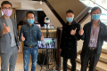 John Liu, Co-Owner & Associate Director, IoT, HKBNES (second left), and colleagues complete deployment of a Smart IoT Thermal Detection Solution for an enterprise client.