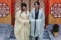 Hong Kong traditional hanfu culture lovers Veronica Kam (left) and Jerry Tsang attend a Hanfu culture exhibition at Olympian City 2 in West Kowloon, Hong Kong. Photo: Jonathan Wong
