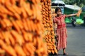A young vendor holds a bunch of carrots for sale on a street in Cisarua Bogor, Indonesia, on September 24, 2012. Photo: EPA-EFE