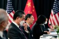 The Chinese delegation led by Yang Jiechi (centre), director of the Central Foreign Affairs Commission Office, and Foreign Minister Wang Yi at the opening session of US-China talks in Anchorage, Alaska on March 18. Photo: AFP