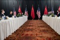 The opening session of US-China talks at the Captain Cook Hotel in Anchorage, Alaska on March 18. Photo: AP