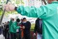 People queue up for Covid-19 vaccines in Sha Tin on Saturday morning. Photo: Felix Wong
