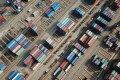 This aerial photo shows shipping containers for export stacked at a port in Lianyungang, in Chinas eastern Jiangsu province on March 7, 2021. Photo: AFP