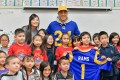 Los Angeles Rams safety, Taylor Rapp, visits students at the Castelar Street Elementary School in Los Angeles in 2019. Photo: Handout
