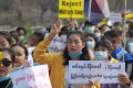Ethnic Karen people take part in an anti-coup demonstration in Hlaingbwe township, in eastern Myanmar's Karen state. Photo: Karen Information Centre via AFP