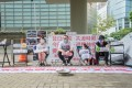 Bar and mahjong parlour workers on hunger strike near Hong Kong's legislature. Photo: Handout
