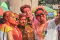 Revellers take selfies as they celebrate Holi, the spring festival of colours, in Siliguri. Photo: AFP