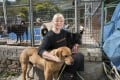 Narelle Pamuk with some of her dogs at the Sai Kung Stray Friends Foundation. The shelter has put out an urgent call for donations. Photo: Antony Dickson