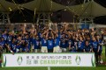 Eastern celebrate winning the Sapling Cup after beating Happy Valley 2-0 at Mong Kok Stadium. Photo: HKFA