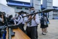 A weapons display held for school students. Photo: Bloomberg